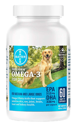 Bayer Free Form Snip Tips Gel Capsules for Dogs Omega-3 Fish Oil Fatty Acids