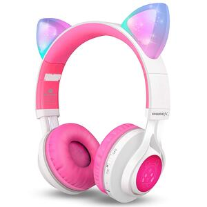 Cat Ear LED Light Up Wireless Foldable Headphones Over Ear with Microphone and Volume Control
