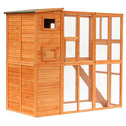 Large Wooden Outdoor Cat Enclosure Catio Cage with Ramp and Covered House