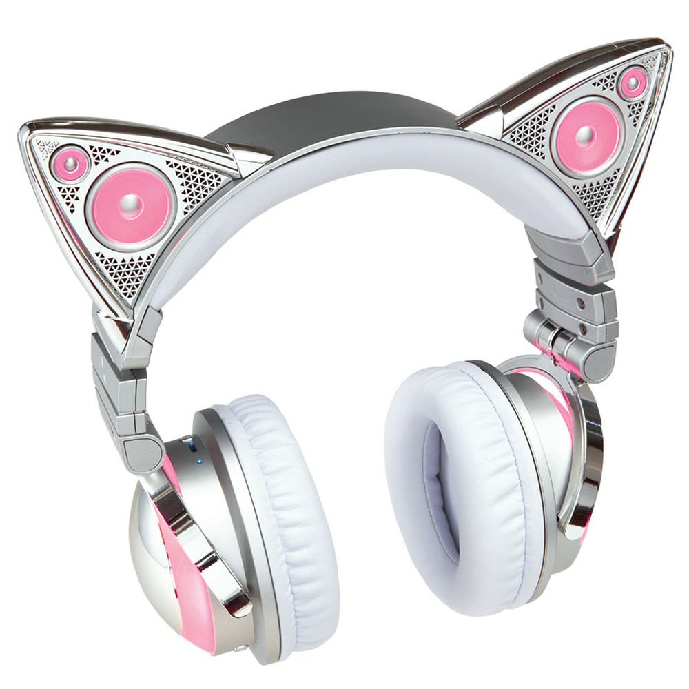 Limited Edition Ariana Grande Wireless Cat Ear Headphones with External Speaker, Bluetooth Microphone
