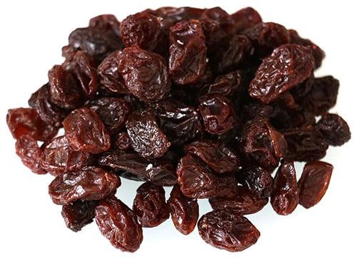 Raisins on White Background