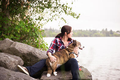 certified dog trainer Cathy Madson and her Welsh Cardigan Corgi Sookie