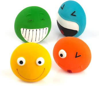 Squeaky Dog Toy Smiley Face Balls