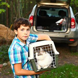 Boy with cat carrier