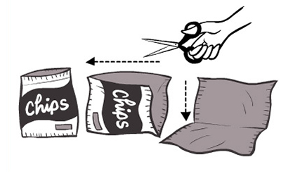 cut snack bags to lay flat to prevent pet suffocation