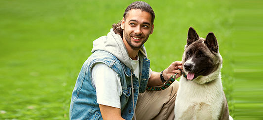 dog trainer with akita