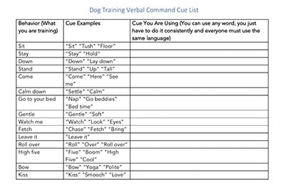 dog cue list template download