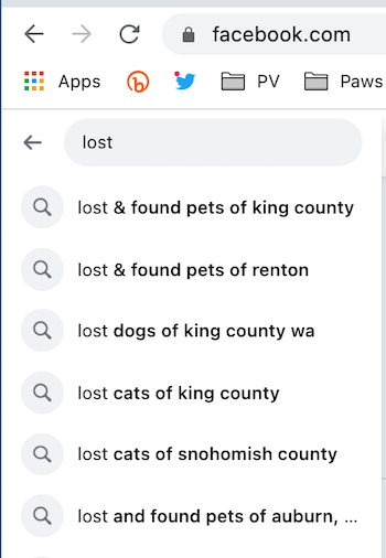 lost dog facebook group examples