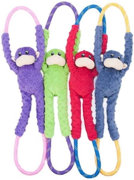 zippy paws monkey tug toy