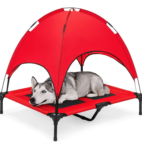 Raised Mesh Cot Cooling Dog Bed with Removable Canopy
