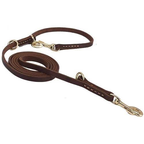 guiding start adjustable leather dog leash