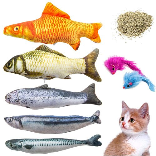 Youngever 7 Cat Toys Assortment with 5 Refillable Catnip Fish Cat Toys